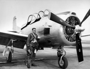 "The ""Pilot's pilot"", Bob Hoover, this picture taken back when the T28 was new."